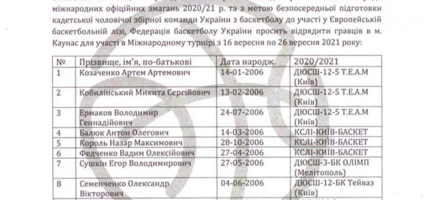Тиняков Артём Александрович и игрок команды Йяму Десмонд были вызваны в кадетскую Сборную Украины